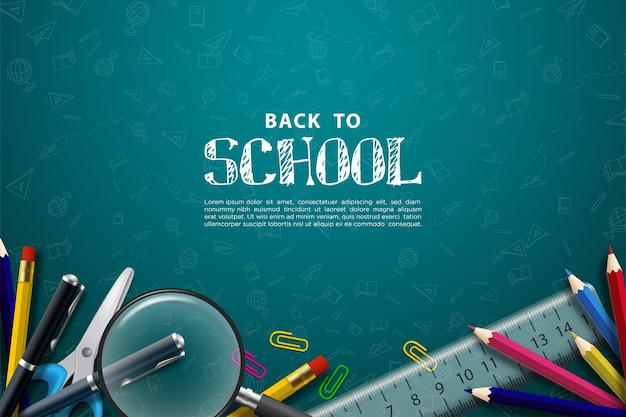 Back to school with school supplies and chalk writing