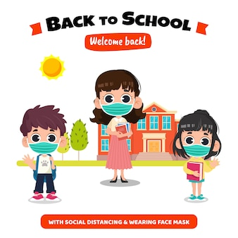 Back to school with social distance concept