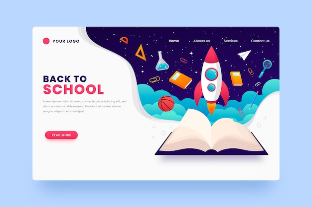 Back to school with spaceship landing page