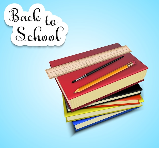 Back to school with a stack of school textbooks