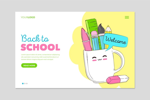 Back to school with stationery items landing page