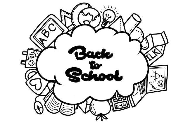 Back to school with texture from line art icons of education, art, objects and office supplies