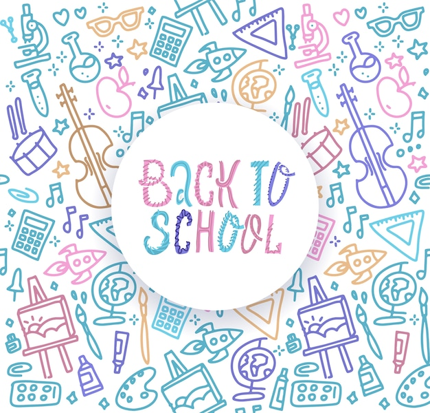 Back to school with texture with colorful line art icons of  education, science objects and office supplies
