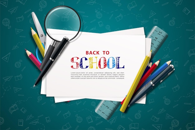 Back to school with writing on white paper