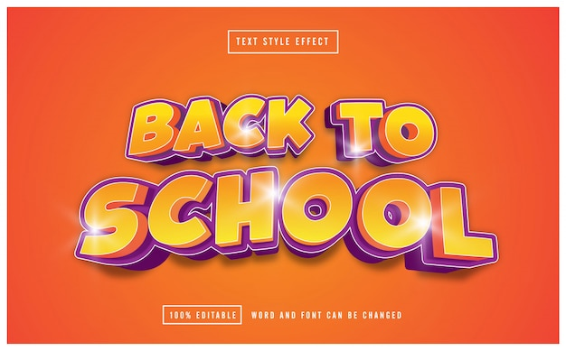 Back to school yellow text effect editable