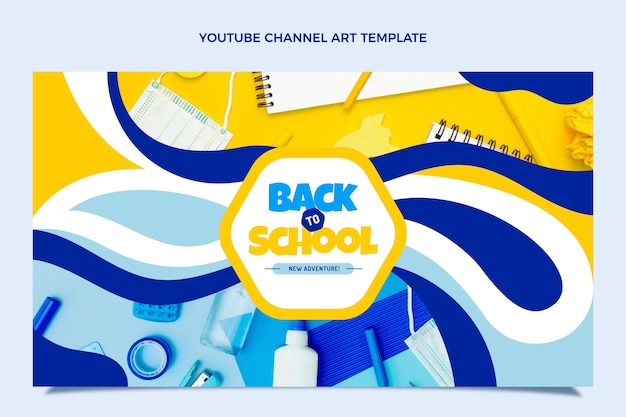Back to school youtube channel art template Free Vector