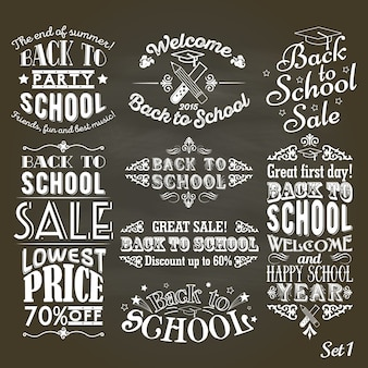 Back to schoolvintage labels on blackboard