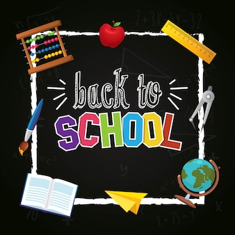 Back to shool with blackboard background design
