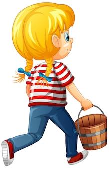 白い背景で隔離の木製のバケツの漫画のキャラクターを保持している女の子の裏側