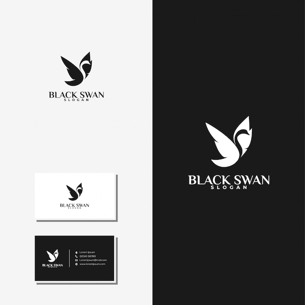 Back swan logo and business card premium vector
