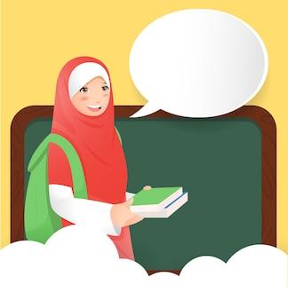 ヒジャーブとイスラム教徒の女の子と一緒にキャンパスに戻る