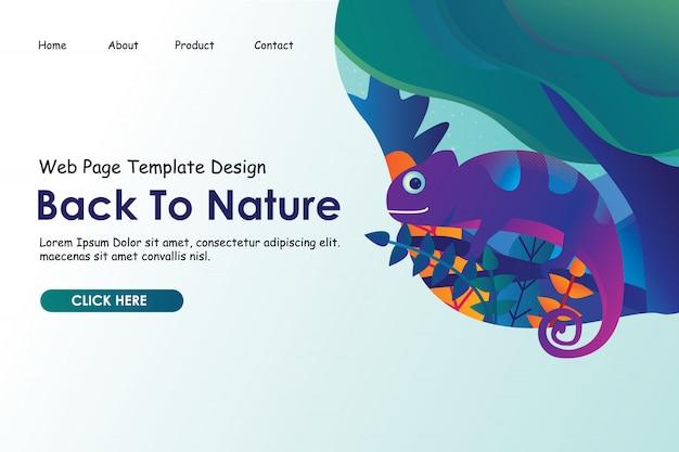 방문 페이지 웹 사이트를위한 숲 그림에 자연 그림 개념, 카멜레온 돌아 가기