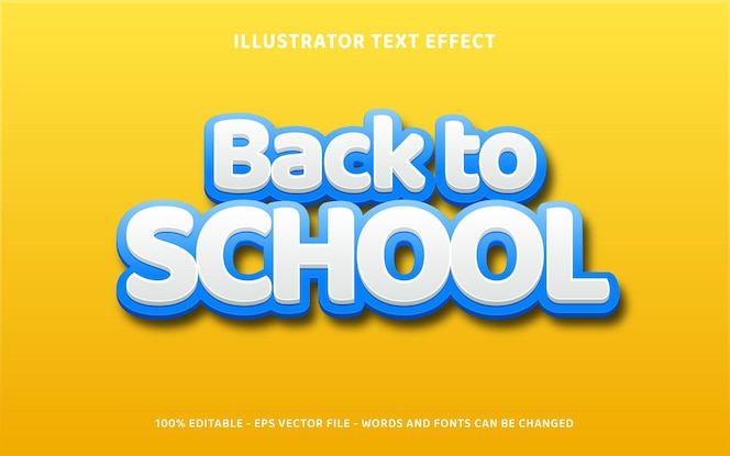 Обратно в школу 3d эффект стиля текста на желтом фоне