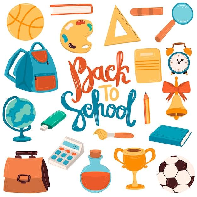 학교로 돌아가기 학용품, 배낭, 문구류, 책, 펜, 통치자가 있는 크고 귀여운 세트. 문자 쓰기.