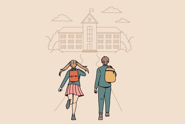 학교 및 교육 개념으로 돌아가기. 긍정적이고 행복한 벡터 삽화를 느끼며 학교로 거꾸로 달리는 작은 소년과 소녀