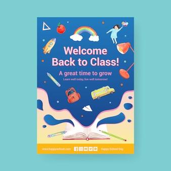 Обратно в школу и концепция образования с шаблон плаката.