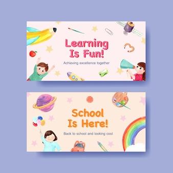 Обратно в школу и концепция образования с шаблоном twitter для рекламы в интернете и цифрового маркетинга акварель