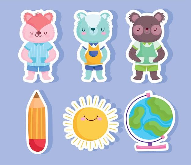 학교 동물 만화 및 스티커 디자인, 교육 수업 및 수업 테마 벡터로 돌아 가기