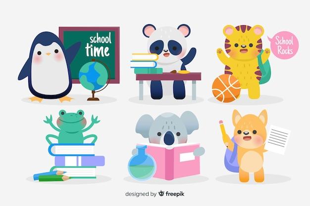 勉強する準備ができて学校の動物に戻る