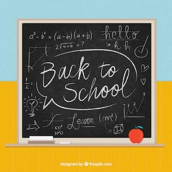 学校の背景に黒板スタイルで戻る