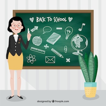 Back to school background in chalkboard style with teacher