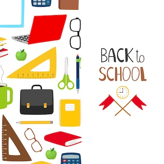 Обратно в школу. школьный баннер с канцелярскими товарами, книгами, стаканами