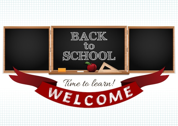 学校の背景に戻る。学ぶ時間。学校へようこそ。図