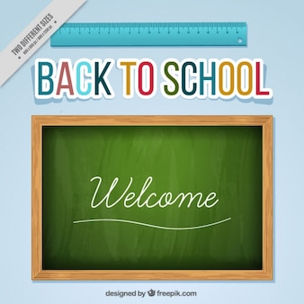 Back to school background with blackboard and a ruler