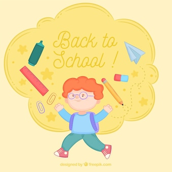 Back to school background with boy