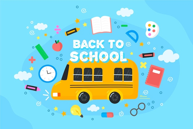 バスで学校の背景に戻る