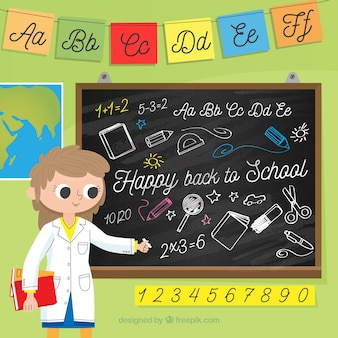 Back to school background with chalkboard and teacher