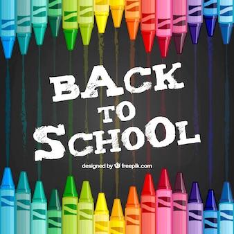 색연필으로 학교 배경으로 돌아 가기