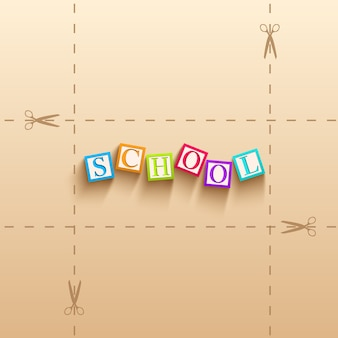 Обратно в школу фон с красочными кубиками с буквами