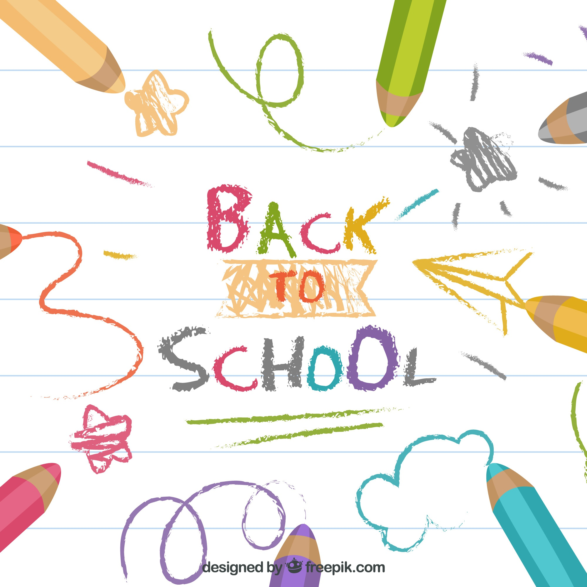 Back to school background with colorful pencils