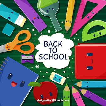 Back to school background with cute cartoons