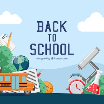 Back to school background with detailed elements