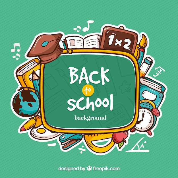 Free Back to school background with elements SVG DXF EPS PNG