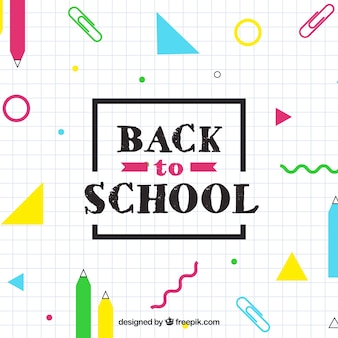 Back to school background with geometric shapes