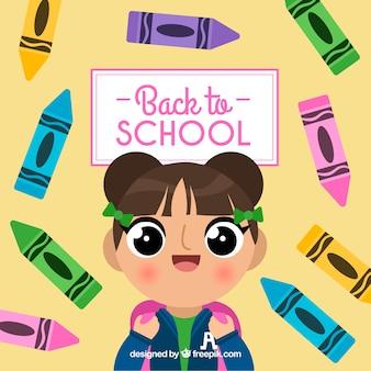女の子と学校の背景に戻る