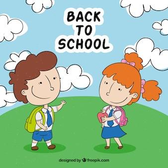 손으로 그린 어린이 학교 배경으로 돌아 가기