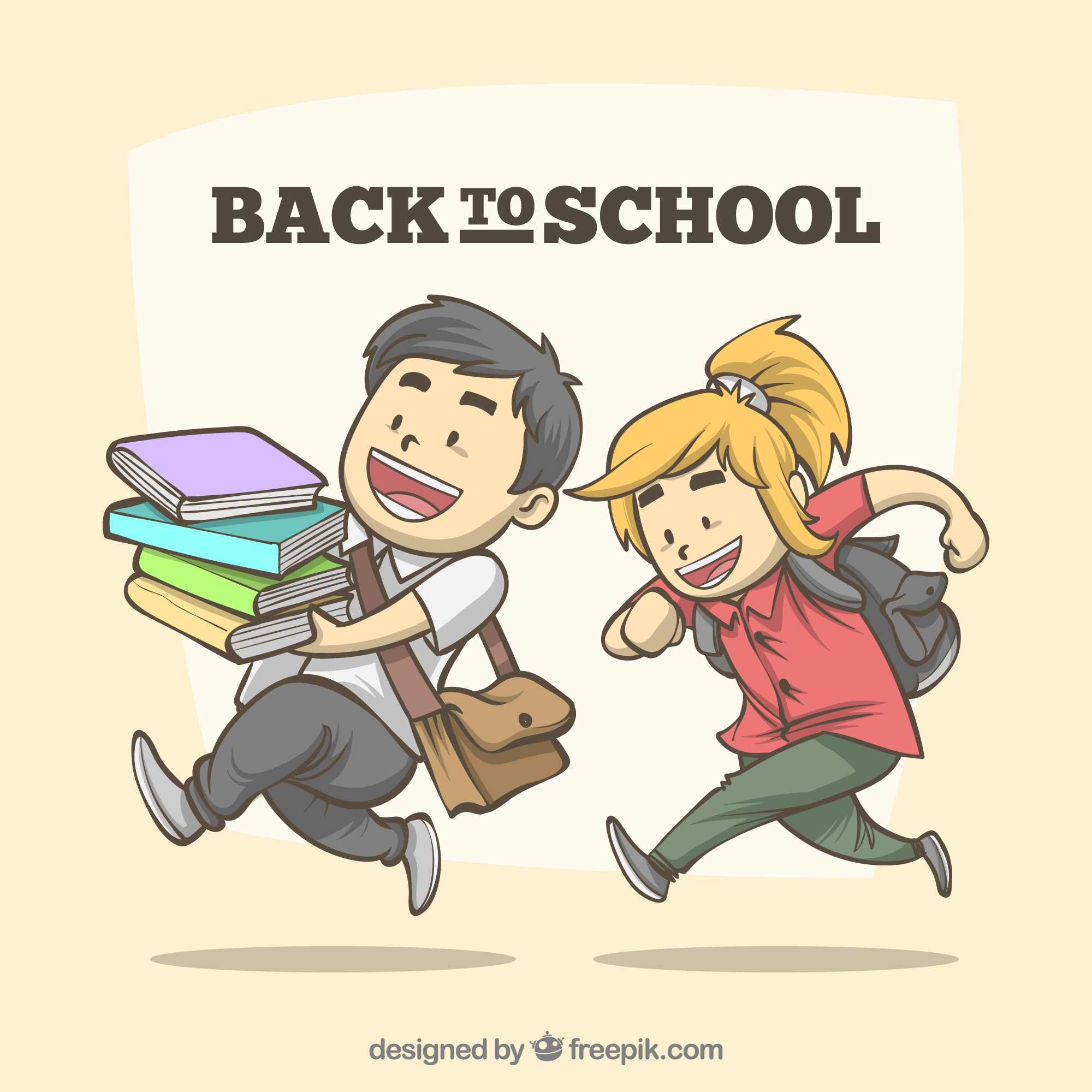 Back to school background with happy students