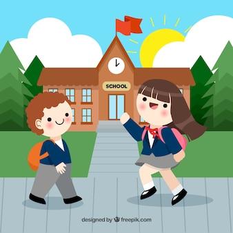 Back to school background with joyful kids