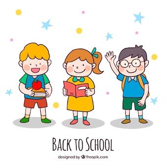 子供たちと一緒に学校の背景に戻る