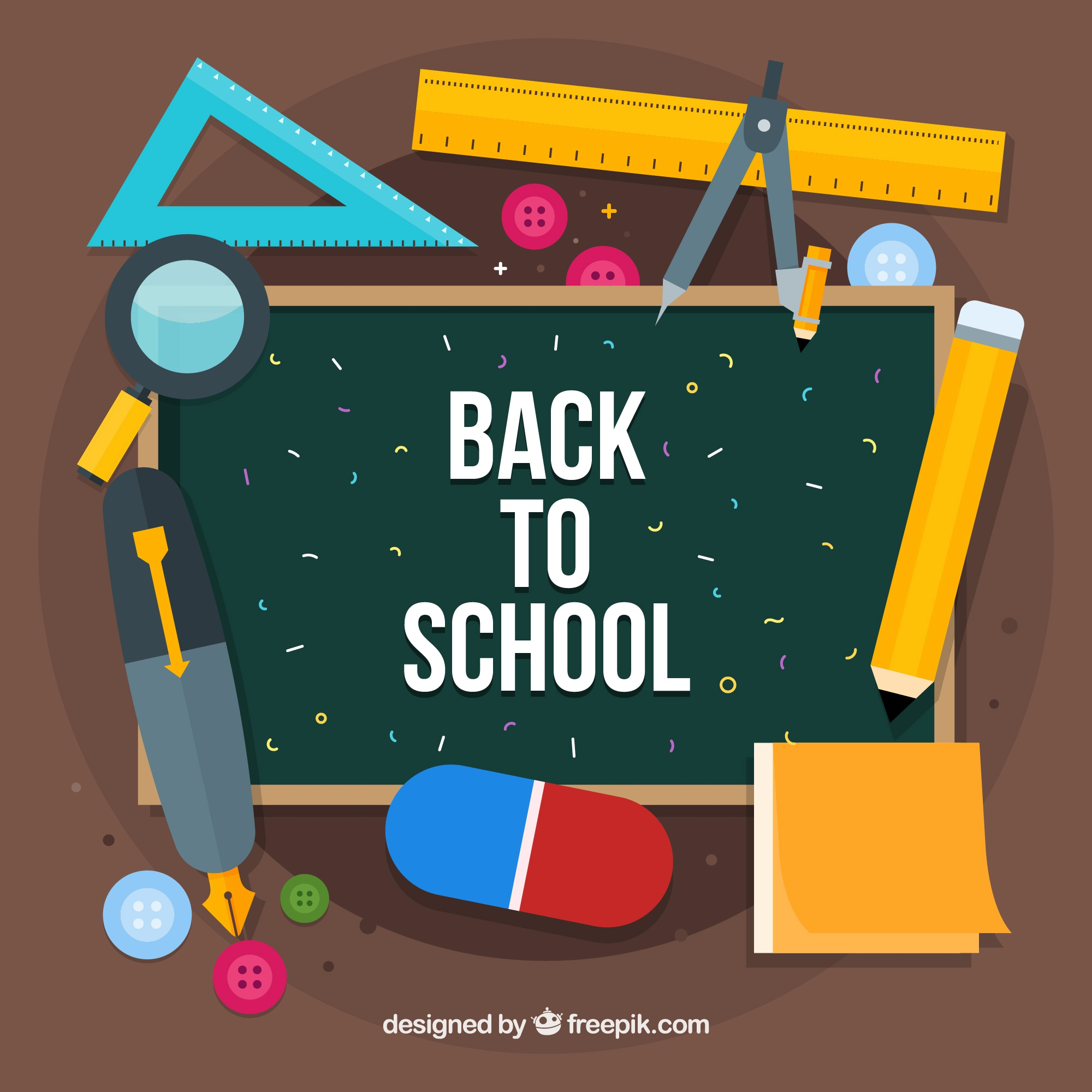 Back to school background with objects