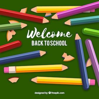 Снова в школу фон с карандашами разных цветов