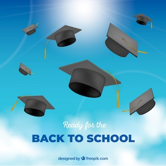 Back to school background with realistic hats