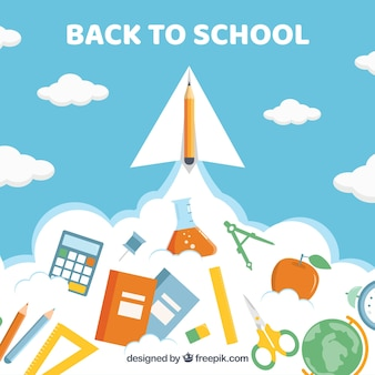 Back to school background with rocket concept