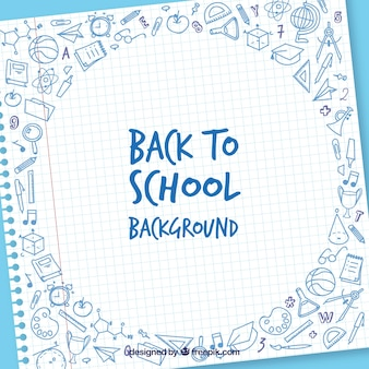 Back to school background with sheet and elements
