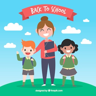 Back to school background with teacher and children
