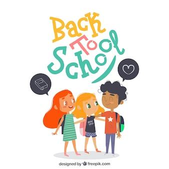 세 아이들과 함께 학교 배경으로 돌아 가기